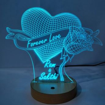 3D illusion lamp a romantic celebration on valentines day